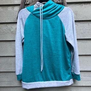 Teal/Grey Double Hooded Hoodie